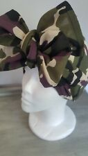 TURBAN HAT 1940 LAND GIRL VINTAGE ROCKABILLY . SELF TIE / KNOT CAMO FABRIC