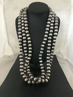 Stunning!! 14 mm Statement Navajo Pearls Sterling Silver Bead Necklace 3S  8282