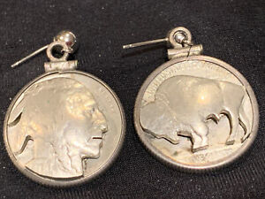 Vintage Estate Silver Nickel Buffalo Carved Coin Art Earrings 5 Cent