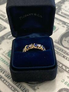 Tiffany & Co. Schlumberger 18K Sixteen Stone Ring Yellow Gold & Platinum Sz 7