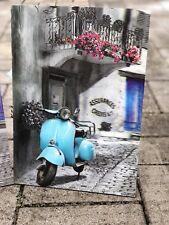 3D Wooden Sign Vintage Wedding Bar Fashion Garage Bike Auto Scooter Blue For Dad