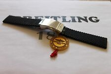 100% Genuine Breitling Black Aero Classic Rubber Deployment Strap 22-20 & Clasp