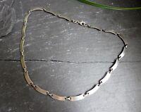 Schönes 925 Silber Collier Kette Designer Moderne Ausführung Nieren Form Matt