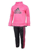 NWT!! adidas Baby Girls' Tricot Zip Jacket and Pant Set Magenta Size: 4T-5-6-6X