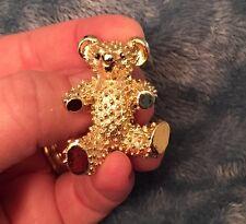 Vintage Smiling Gold Tone Textured Bump TEDDY BEAR PIN