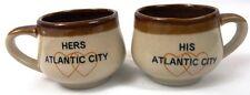 HIS & HERS Atlantic City Small Souvenir Stoneware Coffee Mugs Cups