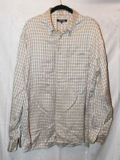 MAXINI Beige White Checkered Button Down Shirt sz L Excell Cond! Top Mens
