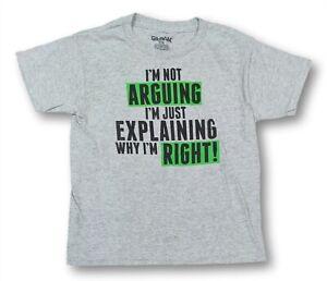 Funny T-Shirt for Boys Not Arguing Gray Short Sleeve Tee Medium 8