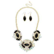 NEW Monochrome Black Marquise Rhinestone AB Crystal Collar Statement Necklace