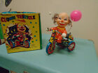 """Vintage Retro Lithograph Tin Wind Up - Clown on Tricycle -5"""" tall"""