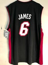 20b567add89 adidas NBA Jersey Miami Heat Lebron James Black Sz 2x