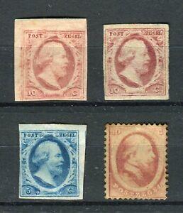 Netherlands 1852/64 Lot Koning Willem III NVPH #1,2(x2),5 MNG