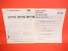 1981 MACK TRUCK MOTOROLA 8-TRACK/AM-FM/MPLX RADIO SERVICE SHOP REPAIR MANUAL 81