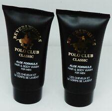 2 Beverly Hills POLO CLUB CLASSIC Aloe Formula Hair & Body Wash FOR MEN 1.5oz ea