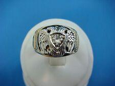 0.33 CT DIAMOND MASONIC SCOTTISH RITE VINTAGE RING,SOLID BACK,10K GOLD,SIZE 9.5