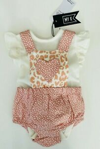 MOTHERCARE Baby Girls Romper MY K Summer Outfit Short Set Leopard Print Pink NEW