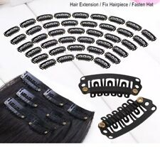 30pcs Black U Shape Steel Snap Clips For Feather Hair Extensions Wigs Weft 🇬🇧