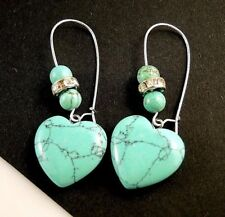 Turquoise Gemstone Fashion Heart Dangle Earrings with Gemstone Beads #15