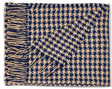 100% Baby Alpaca throw blanket, Navy Blue Pied de Poule throw, All Natural