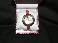 BETSEY JOHNSON TIMEPIECES WOMENS WATCH THIN PINK BAND BJ00442-03 GOLD-TONE