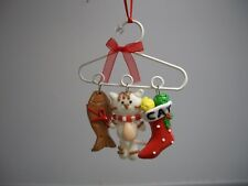 White Clothes Hanger Dangling Cat Kitten Fish Stocking  XMas Ornament NWT