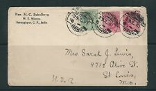 INDIA 1910 cover from M.E. MISSION to BOSTON USA