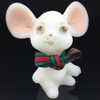 FENTON MOUSE Satin Vintage XMAS Figurine painted & signed S. Stephens Christmas