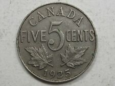 KEY-Date 1925 Canadian 5 Cents. CANADA.  #35