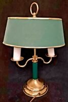"Vintage Underwriters Laboratories Lamp Green Brass 18"" Portable Lamp Two Arm"