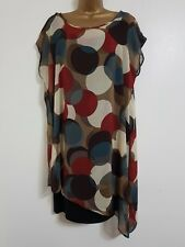NEW Samya Plus Size 16-28 Circle Print Asymmetric Chiffon Tunic Dress Top Blouse