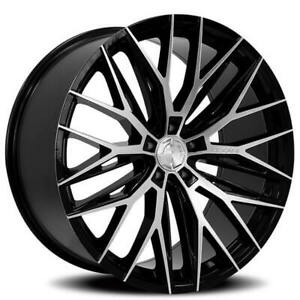 "4ea 20"" Staggered Lexani Wheels Aries Black Machined Rims(S44)"