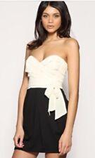Lipsy Dress Strapless Chiffon Frill Tulip Cream Black UK 10