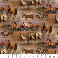 David Textiles Horses in the field Brown Wild Wings Cotton Fabric by the yard