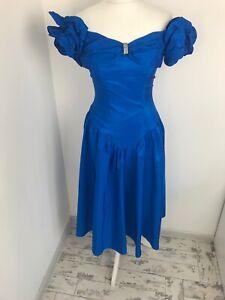 Cerulean Blue Vintage Prom Dress Off Shoulder 80s Size 8 10