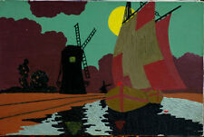 Tableau Huile sur toile vers 1980 Marine Bateau Moulin Hollande Pays Bas