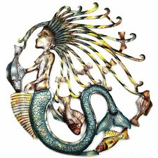"Home Decor Metal Wall Art 24"" Painted Mermaid Stunning Gift Fair Trade"