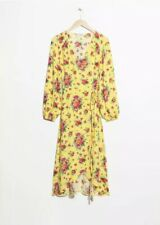 & Other Stories Yellow And Red Floral Wrap Midi Dress Size EU 34