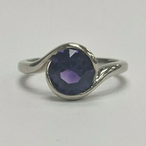 Amethyst Carved Wave Light Engagement Ring, 14k White Gold by Krikawa, size 5.5