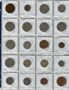 World Coins, 20 pcs from United Kingdom, 1916 to 1999
