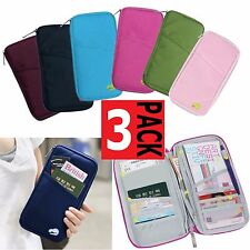 3 x TRAVEL WALLET Passport Holder Credit Card Organizer Bag iPhone Case Pouch