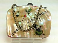 Antique French  Mother of Pearl Hand Painted Colorado Springs Coin Purse 1880's