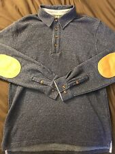 Orvis Mens Pullover Polo Rugby Shirt Blue W/ Leather Elbow Patches Size M Medium