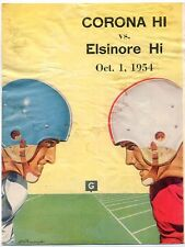 Corona High vs Elsinore High 1972 High School Football  program MBX72