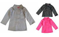 KIDS - GIRLS GREY, BLACK & PINK DOUBLE BREASTED JACKET. SIZES 3,4,5,6,7.
