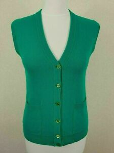 Ladies 70s Vtg Green Deadstock Pure New Wool Knitted Waistcoat -8- PC37