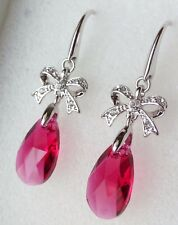 Oriental Style Made with Genuine Swarovski Crystal Pear Shape Ruby Color Earring