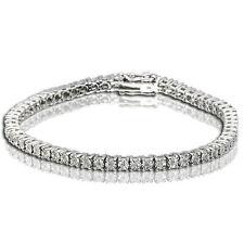 Ladies Womens White Gold Finish Genuine Diamond Cluster Tennis Bracelet 1/4 Ct