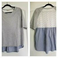 Alessia Pacini Womens Blouse Blue Gray White Eyelet Lace Italy Size Large