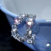 18k white gold gf made with Swarovski crystal stud love heart round earrings