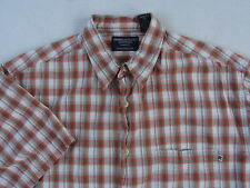 American Eagle Men's S/S Button Down Red & Gray Plaid Casual Dress Shirt - M